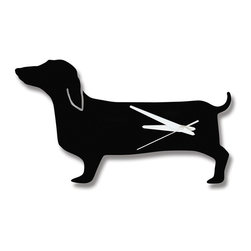 Naked Decor - Happy Hot Dog Clock - Hot dog! This playful clock is long on personality and style. Hang it in your kitchen for a playful pop of art. The dachshund lover in you will happily keep time with this cute canine.