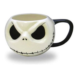 KOOLEKOO - NBC Jack Skellington Head Mug - Have a drink with your old pal, Jack Skellington! The Nightmare Before Christmas Jack Skellington Head Mug is a totally awesome mug made to look like the head and face of Jack Skellington. If you love the Pumpkin King of Halloweentown as well as Tim Burton's The Nightmare Before Christmas, then this mug is for you! Can hold nearly 19 ounces of liquid.