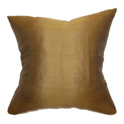 "The Pillow Collection - Wantliana Plain Pillow Copper 18"" x 18"" - This luscious decor pillow comes with a warm copper hue. The metallic brown shade adds a rich and sumptuous vibe to this accent pillow. The slight sheen of the fabric which is made of 100% silk brings out the elegance of this square pillow. Prop this throw pillow on top of your furnishings and make it your statement piece. Pair this with other silk pillows for a luxurious contemporary decor style. Hidden zipper closure for easy cover removal.  Knife edge finish on all four sides.  Reversible pillow with the same fabric on the back side.  Spot cleaning suggested."