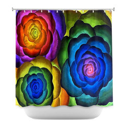 DiaNoche Designs - Shower Curtain Artistic - Joyous Flowers IV - DiaNoche Designs works with artists from around the world to bring unique, artistic products to decorate all aspects of your home.  Our designer Shower Curtains will be the talk of every guest to visit your bathroom!  Our Shower Curtains have Sewn reinforced holes for curtain rings, Shower Curtain Rings Not Included.  Dye Sublimation printing adheres the ink to the material for long life and durability. Machine Wash upon arrival for maximum softness. Made in USA.  Shower Curtain Rings Not Included.