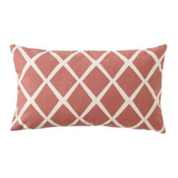 Serena & Lily - Diamond Lumbar Pillow Cover Coral - Such a simple design, yet so striking. On a backdrop of sunwashed coral, the loosened-up lines in soft white take on the look of a block print. We love the idea of mixing several shades together to create the ultimate color story.
