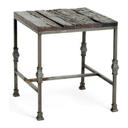 Support Table - Keep this support table in the dinning room as it comes from the French country furniture collection. It is made up of sturdy iron with reclaimed wood. One can also utilize this steel table in kitchen.