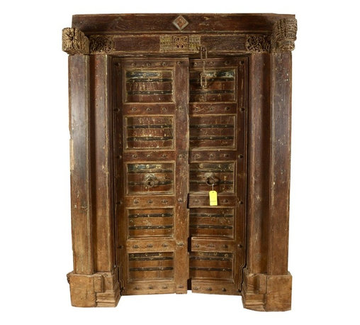 """Sierra Living Concepts - Nottingham Gothic Teak Wood Double Doors & Frame - You will make a historic and romantic statement with the Nottingham Gothic Double Doors and Casing Set. This antique style entrance way is built with solid teak wood, a hardwood famous for its durability and strength. The set measures 39"""" long and 72"""" high."""