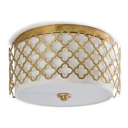 Kathy Kuo Home - Moreau Hollywood Regency Glass Gold Leaf Ceiling Mount Fixture - Don't miss out on dramatic lighting just because you don't have a dramatic high ceiling. This flush mount ceiling light turns your space into old Hollywood glamour with its gold quatrefoil cage and opaque shade. Rat Pack not included.