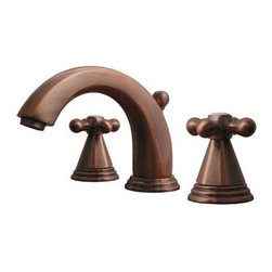Whitehaus Collection - Antique Copper Whitehaus 514.141WS Widespread Deck Mount Three Holes Lever Bathr - Practical and simple modern designed details compliment a wide range of bathroom d?cor styles. Two cross handle widespread deck mount three holes lever bathroom faucet by Danze can be part of many other collections and accessorizes. It fits perfectly to many different bathroom decorations. This faucet is desirable detail that can make your bathroom d?cor refreshing.