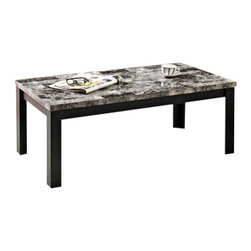 "Acme - 3-Piece Pack Finley Black Faux Marble Top Coffee and End Table Set - 3-Piece pack Finley black faux marble top coffee and end table set with straight legs. Coffee table measures 48"" x 24"" x 18"" H. End table measures 22"" x 20"" x 22"" H. Some assembly required."