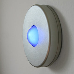 Satin Round Doorbell Button By Luxello LED - A modern simple doorbell button by Luxello is a solid round aluminum casing that is finished in a satin anodized aluminum.