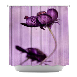 DiaNoche Designs - Purple Blossoms Shower Curtain - Sewn reinforced holes for shower curtain rings. Shower Curtain Rings Not Included. Dye Sublimation printing adheres the ink to the material for long life and durability. Machine Washable. Made in USA.