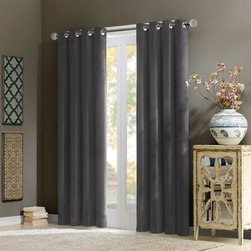 "Madison Park Signature - Madison Park Signature Alexandra Velvet Window Curtain - Add warmth and texture into your room with this 100% cotton velvet window panel. The soft and lush fabric in the deep rich grey color adds a simple sophisticated touch. The heavy weight fabric combined with microfiber lining creates room darkening features for more privacy and energy saving abilities. Grommet top detail makes it easier to hang, open, and close panels throughout the day. Fits up to 1.25"" diameter rod. 100% cotton velvet wih micro fiber lining, Grommet Top."