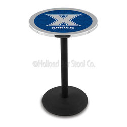 Holland Bar Stool - Holland Bar Stool L214 - Black Wrinkle Xavier Pub Table - L214 - Black Wrinkle Xavier Pub Table  belongs to College Collection by Holland Bar Stool Made for the ultimate sports fan, impress your buddies with this knockout from Holland Bar Stool. This L214 Xavier table with round base provides a commercial quality piece to for your Man Cave. You can't find a higher quality logo table on the market. The plating grade steel used to build the frame ensures it will withstand the abuse of the rowdiest of friends for years to come. The structure is powder-coated black wrinkle to ensure a rich, sleek, long lasting finish. If you're finishing your bar or game room, do it right with a table from Holland Bar Stool.  Pub Table (1)