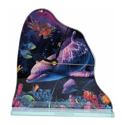WL - 7.5 Inch Plum Dolphins and Multi Sea Life Coral World Scene Clock - This gorgeous 7.5 Inch Plum Dolphins and Multi Sea Life Coral World Scene Clock has the finest details and highest quality you will find anywhere! 7.5 Inch Plum Dolphins and Multi Sea Life Coral World Scene Clock is truly remarkable.