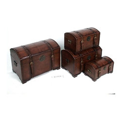 International Caravan - International Caravan Seville Set of 4 Faux Leather Trunks in Brown - International Caravan - Accent Chests - YWLF2535BR - For over 44 years International Caravan has been one of the leaders in quality outdoor and indoor furniture.  Using only the finest materials they bring skill craftsmanship and complete dedication to those who enjoy their furniture.  You cannot go wrong with any of International Caravan's beautifully constructed pieces of furniture that are sure to be a focal point inside or outside of your home for years to come.Features: