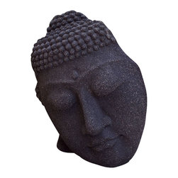 Repose Home - Reposed Silhouette, Volcanic Black - Buddha's serene, free-standing face will look magnificent in your garden. Cast in elegant, stonewashed volcanic ash and weatherproofed for indoor or outdoor use.