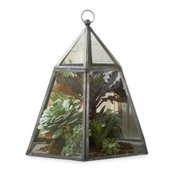 Kathy Kuo Home - Provence French Country Hexagon Plant Terrarium Cloche - Create your own garden party with this hexagonal terrarium. A distressed, silver-edged finish gives it the look of an antique.