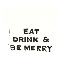 """Eat, Drink, and Be Merry Linocut Typography"" Artwork - Eat Drink and Be Merry Christmas Linocut art print using black printing ink. Simplicity at it's best. Typography using a hand-carved linocut. Christmas decorations that are modern, classic, yet bold and fun. This is printed on white 100% cotton rag paper 140lb. It has torn/frayed edges. This print was carved out of lino, then I applied black printing ink, and then hand pulled the print. No two prints come out exactly the same. That's the beauty in linocut prints. This print is in the series of ""Eat Drink and Be Merry"". The paper size is 8 inches by 10 inches. It would look stunning in a floating frame!  Artist signed, numbered, and dated."
