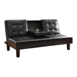 Homelegance - Homelegance Reel Elegant Lounger in Dark Brown Bi-Cast Vinyl - Beyond the click mechanism function of the Reel collection is the convenient fold down armrest with beverage holder. dark brown tufted bi-cast vinyl features complimenting stitching.
