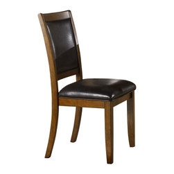Monarch Specialties - Monarch Specialties Dining Chair in Walnut (Set of 2) - Create a casual fashion statement to your dining area with these dark walnut chairs. With the seats and back upholstered in padded black leather and a look easy care material, these chairs will bring a contemporary appeal that will provide years of lasting enjoyment. What's included: Side Chair (2).