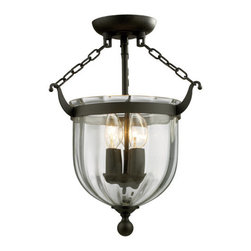 Z-Lite - Z-Lite 140SF 3 Light Semi Flush Mount Ceiling Fixture with Glass Urn Shade from - Z-Lite 140SF 3 Light Semi Flush Mount Ceiling Fixture with Glass Urn Shade from the Warwick CollectionThe stately Warwick family adds exquisite charm to your space. The sculpted circular glass shades are suspended from a circular iron band. Softly glowing candelabra lights are suspended within the circular glass shades. These fixtures are finished in bronze or chrome.Features: