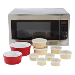 Unknown - LaCuisine™ 18pc Microwave Stoneware Set - Set includes: four 4oz ramekins, two 8oz ramekins, two 16oz ramekins, one 28oz casserole dish, and one 56oz casserole dish. Ramekins feature cream finish and polypropylene covers. Casserole dishes feature red finish. Stoneware is oven safe up to 425°F. All pieces are microwave and dishwasher safe. Table serving ready.