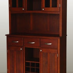 HomeStyles - Buffet and Hutch Set - This substantially crafted buffet reflects a country charm along with practical storage and serving space. Cherry finish brings a depth to the cabinet and matching hutch. Features include upper display areas for protection and traditional utility drawers and doors below. Two wood framed doors. Brushed steel hardware. Buffet with three utility drawers. Metal drawer slides. Equipped with adjustable floor levelers. Adjustable shelf for plenty of inside storage. Center wine storage area can be removed for open storage if desired. Hutch with plexiglass doors. Adjustable shelf inside for plenty of storage. Center area with one shelf for additional storage or display. Made from Asian hardwood and wood. Medium cherry finish. Made in Thailand. Assembly required. Buffet: 41.75 in. W x 16.75 in. D x 36.25 in. H. Hutch: 44.75 in. W x 12.5 in. D x 36 in. H. Overall: 44 in. W x 17 in. D x 72.25 in. HBuffet-of-Buffets is an expansive collection of buffets and hutches designed to provide added storage and workspace for the kitchen and dining areas of the home. Including a clear coat finish to help protect against wear and tear from normal use.