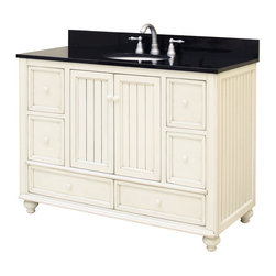 "Sunny Wood - Sunny Wood BB4821D Burnished White Bristol Beach 48"" Wood Vanity - 48"" Wood Vanity Cabinet from the Bristol Beach Collection The Bristol Beach collection of vanities and mirrors is the perfect complement for those looking for a fresh, seaside feeling in their bathroom. With its lightly distressed finish and the beaded wainscot style doors and side panels, this vanity collection sets itself apart. Features include full face frame construction, turned feet with adjustable levelers, and dual mount drawer slides. The Bristol Beach collection also features ample storage and a variety of accent mirrors. Product Details:  Dimensions: 48""W x 21""D x 34""H Constructed of Maple hardwoods and veneers 2 Door, 6 Drawer Design Fully Inset Bottom Drawers Mildly Distressed Burnished White Finish Turned Feet with Adjustable Foot Tabs Side Panels Include Bead Board Insert Ample interior storage Brass decorative hardware Crated and shipped assembled Bristol Beach vanities: 30"" (BB3021D), 36"" (BB3621D), 48"" (this model) Additional image is that of the 36"" version of this vanity, but still provides reference for design characteristics and finish Finish Distressing Technique Applied to Give Character and Create a ""Living Finish"" Appearance"
