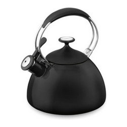 Cuisinart - Cuisinart Cache 2 qt. Enamel on Steel Whistling Teakettle - Black - CTK-EOS12BK - Shop for Kettles (Stovetop) from Hayneedle.com! About CuisinartOne of the most recognized names in cookware and kitchen products Cuisinart first became popular when introduced to the public by culinary experts Julia Child and James Beard. In 1973 the Cuisinart food processor revolutionized the way we create fine food and healthy dishes and since that time Cuisinart has continued its path of innovation. Under management by the Conair Corporation since 1989 Cuisinart is a universally celebrated name in kitchens across the globe. With a full-service product line including bakeware blenders coffeemakers cookware countertop appliances kitchen tools and much much more Cuisinart products are preferred by chefs and loved by consumers for durability ease of use superior quality and style.