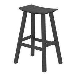 POLYWOOD® Traditional 30 in. Saddle Bar Stool - The POLYWOOD Traditional 30 in. Saddle Bar Stool is a smart and stylish way to bring contemporary comfort and style to your patio deck or outdoor space. Constructed from 90% recycled materials and set to a high-quality plastics this durable HDPE polywood saddle stool is designed to endure harsh weather conditions without splintering cracking chipping peeling or rotting for years of adorning your home tastefully. Polywood uses unique plastic lumber making and furniture fabricating technologies. Polywood furniture is backed by a 20 year limited residential warranty. Crafted for comfort as well as style this sleek alfresco bar stool features a smooth design with a curved seat you could spend a whole summer's day in. The polywood lumber construction eliminates the need for painting staining or waterproofing and makes for an easy-to-sleep surface that wipes dry. Choose from a variety of colors for the seat that best complements your home. Please note: Warranty applies to residential use only. About Poly-WoodThe advantages of Poly-Wood Recycled Plastic are hard to ignore. Poly-Wood absorbs no moisture and will NOT rot warp crack splinter or support bacterial growth. Poly-Wood is also compounded with permanent UV-stabilized colors which eliminates the need for painting staining waterproofing stripping and resurfacing. This material is impervious to many substances including salt water gasoline paint stains and mineral spirits. In addition every Poly-Wood product comes with stainless steel hardware. Poly-Wood is extremely easy to clean and maintain. Simple soap and water is all you need to get rid of dirt and make your furniture look new again. For extreme cleaning needs you can use a 1/3 bleach and water solution. Most Poly-Wood furnishings are available in a variety of classic colors which allow you to choose your favorite or coordinate with the furniture you already have. This is sure to be a piece that you will be proud to
