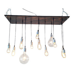 "Industrial Lightworks - Rustic Chandelier with Edison Bulbs, Nickel - Rustic / Industrial style chandelier. Handmade from salvaged plywood and stained a deep dark brown. The wiring is black with white porcelain hardware. Includes a variety of 12 low watt bulbs. The longest bulb hangs 26"" below base."