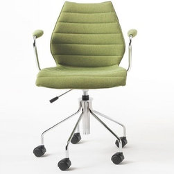 Kartell - Kartell | Maui Soft Armchair with Casters - Made in Italy by Kartell.Originally designed by Vico Magistretti in 1995, the Maui Chair received a fresh new look in 2012 with upholstery. The original Maui Chair was the focal point of design research in the 1990s, as the first of a new era of single mold seats in material that had no ribbing, tracery, metal supports, or reinforcements to support the back. The upholstered Maui Soft Armchair with Casters features elegant lines, practicality, and versatility with a wide range of fabric options — just as contemporary today as it was yesterday.
