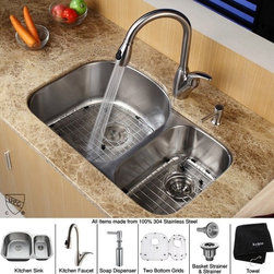 Kraus - 32 in. 60/40 Double Bowl Kitchen Sink with Soap Dispenser - Add an elegant touch to your kitchen with unique Kraus kitchen combo