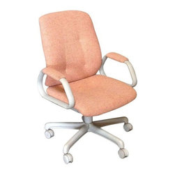 Used Orange Upholstered Swivel Desk Chair - Extremely comfortable and ergonomically engineered reclining office desk chair with light grey frame and orange upholstery. Swivels and is easily maneuverable -- even on carpeting! Amazingly attractive and comfortable for such a functional piece of furniture. Two coordinating side chairs are available separately.     seat ht: 16  arm ht: 25
