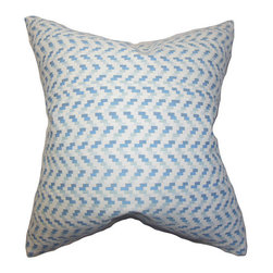 The Pillow Collection - Varsha Blue 18 x 18 Geometric Throw Pillow - - Pillows have hidden zippers for easy removal and cleaning  - Reversible pillow with same fabric on both sides  - Comes standard with a 5/95 feather blend pillow insert  - All four sides have a clean knife-edge finish  - Pillow insert is 19 x 19 to ensure a tight and generous fit  - Cover and insert made in the USA  - Spot clean and Dry cleaning recommended  - Fill Material: 5/95 down feather blend The Pillow Collection - P18-PT-DAVEY-HORIZON-C100