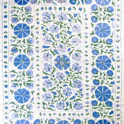 Blue and Green Suzani - Suzanis are great versatile pieces for a casual home. Use one at the foot of the bed, or draped over a sofa. You could even repurpose it as a tablecloth during dinner parties.
