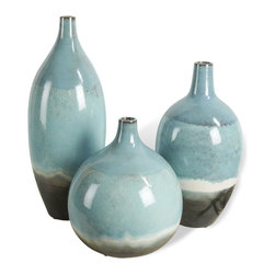 Kathy Kuo Home - Oslo Beach Style Aqua Blue Round Bud Vase Trio - Ice blue, snow white and mountain gray are layered in an artful glaze upon this trio of shapely vases.  Very Scandinavian and absolutely alluring, this trio adds a dash of cool organic style to any space.