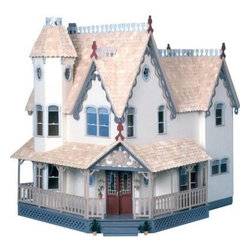 Greenleaf Pierce Dollhouse - Make this home your castle! Smaller than the Garfield, but equally as impressive, the Pierce is one of our most popular models at a reasonable price. Majestic with its Victorian charm and gingerbread, this stately home has an open and inviting feeling. It houses six large rooms, an attic, and a hidden tower chamber to make any woman feel like a princess in her castle. Complete with a place for a prince to give chase - inside you'll also find an elegant curved staircase. Silk-screened windows, two fireplaces, and a wrap veranda make this enchanted dwelling a home fit for a queen.Please note: the Pierce requires eight additional bags of shingles and seven of siding, available separately.Please note: this piece comes unfinished and ready to paint. Paint not included.Recommended Supplies: wood glue, sandpaper, latex paint, latex primer, stain, and a hot glue gun.