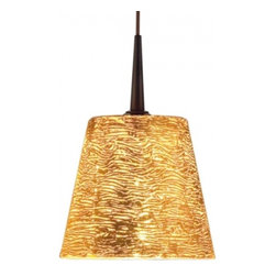 """Bruck Lighting - Bling I LED Pendant Light w Gold Textured Glass (Bronze No Canopy) - Finish: Bronze No Canopy. Pictured in Bronze. Glass Color: Gold Textured Glass. Mounting: No Canopy. Energy efficient . 12V AC/DC Input * 700mA DC constant current output. 6A, 5W for 1 (3 Watt LED) Included * 3000K / 68 Ipw. Suitable for dry location only. Compatible with selected Bruck electronic transformers and must meet the minimum VA. Overall Dimensions: 4.3"""" H x 4.8"""" DiaThe Bling I 3 Watt LED Pendant with wire mesh accents. Uni-plug design allows Sierra 3 Watt LED pendant to be mounted on any lighting system through the use of an appropriate adaptor, not included. Standard cable length of 59""""."""
