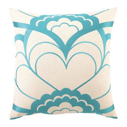 Trina Turk - Trina Turk Deco Floral Blue Embroidered Pillow - The woodcut-inspired flower motif of the Deco Floral throw pillow in blue recalls an iconic art style bursting with vintage appeal. This Trina Turk design is handcrafted with a focus on contemporary style for your bedroom, den or living space. Linen pillow with embroidered detail; Hidden zipper closure; Down pillow insert included