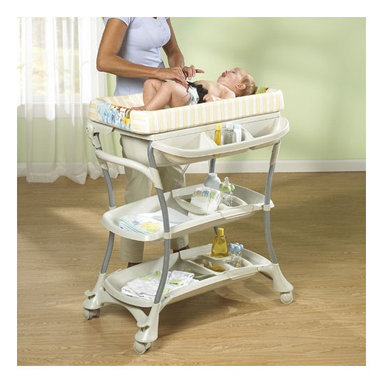 Primo - Euro Spa Baby Bathtub and Changer Combo - Features: -Euro Spa and combination changing cable is perfect, when space is an issue.-2 position baby bath.-For infants 0-24 months.-Comes complete with locking safety wheels.-Comes complete with a vinyl changing pad, and safety strap.-Easy to assemble.-Included 3 large adjustable accessory trays.-Distressed: No.Dimensions: -Overall Product Weight: 37.69 lbs.
