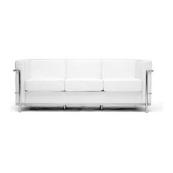 Baxton Studio - White Le Corbusier Petite Sofa - Le Corbusier-style de Petite Leather Sofa with a solid stainless steel outline completely welded, fixed and sanded, smooth white cowhide upholstery, novel square plan with exquisite funneled edging, agreeable high thickness froth fill.