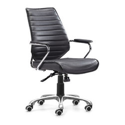 Zuo Modern - Enterprise Low Back Office Chair Black - Upgrade your office with this stylish and comfortable Enterprise Low Back Office Chair. With its adjustable pneumatic lift, sturdy five-wheel base, armrest and plush seat, this comfortable chair can be customized to your unique specifications. It's the perfect chair to compliment any bedroom or office.