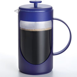 BonJour - Bonjour Blue 3-cup French Press - This French press features BonJour's patented shut-off infuser, a stainless steel rod, and a silicone gasket. A patented filtering lid reduces sediments in your cup while BPA-free plastic makes up the canister.