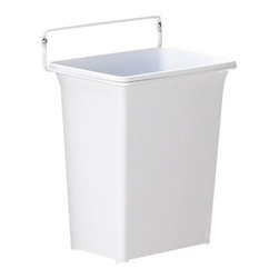 "Hafele America Co. - Door-Mounted Bin - Easily mounted onto a cabinet door with just two screws this Door Mount Waste Bin is the perfect accessory for your kitchen or bath. Featuring a white polymer removable bin with a white epoxy coated frame this bin can be placed in your home for quick and easy waste disposal Holds 9 quarts (2 1/4 gallons) 9 1/2"" Wide x 11 1/8"" High x 7"" Deep  Installs easily with just two screws"