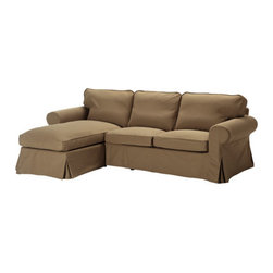 IKEA of Sweden - EKTORP Loveseat and chaise lounge - Loveseat and chaise lounge, Idemo light brown