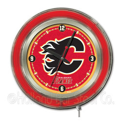 Holland Bar Stool - Holland Bar Stool Clk15CalFla Calgary Flames Neon Clock - Clk15CalFla Calgary Flames Neon Clock belongs to NHL Collection by Holland Bar Stool Our neon-accented Logo Clocks are the perfect way to show your team pride. Chrome casing and a team specific neon ring accent a custom printed clock face, lit up by an brilliant white, inner neon ring. Neon ring is easily turned on and off with a pull chain on the bottom of the clock, saving you the hassle of plugging it in and unplugging it. Accurate quartz movement is powered by a single, AA battery (not included). Whether purchasing as a gift for a recent grad, sports superfan, or for yourself, you can take satisfaction knowing you're buying a clock that is proudly made by the Holland Bar Stool Company, Holland, MI. Clock (1)