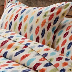 Garnet Hill - Garnet Hill Feather Flannel Bedding - Double - Flat - Multi - These sheets have a colorful, conversational print that melds an artistic log-cabin look with the eclectic, modern style worthy of an urban flat. Printed on an Oatmeal ground. Like all of our flannel bedding, it's made of pure cotton and brushed for softness. Tailored sham has flange and back overlap closure. Due to flannel's unique napped finish, some pilling is expected but diminishes with washing. Fitted sheet is fully elasticized for a better fit.