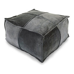 Cotton Velvet Pouf - Charcoal - Pieced, piped, and plush for a deliciously textural feel, the relaxed yet tailored Cotton Velvet Pouf in Charcoal offers both a sleek sheen and three-dimensional geometric detailing for floor seating in the highest of styles.  Its distinctive deep grey color and soft hand convey luxury and sophistication, while its low silhouette has a rich, global feel.