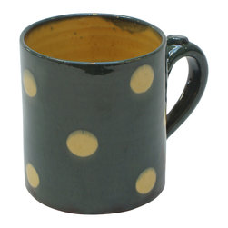 Polka-Dot Mug, Blue, 3.25w X 3.5h - This festive cup, by Richard Esteban, hits the spot. Use it to serve warm hot cocoa topped with whipped cream or as your morning mug filled with your favorite brew. The interior (and the dots) are glazed in a warm, buttery yellow that complements the warm exterior color.