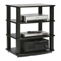 Plateau - Audio Stand in Black Oak Finish - Load up the XT Collection Four Level High TV Stand, Audio & Component Rack to your heart's content!  This solidly built AV component rack offers a choice of Black or Silver poles with four Black, Silver, Cherry or Mahogany finished shelves. Superior modern styling. 0.75 in. curved and shaped shelves. Heavy gauge 2 in. L x 2 in. W steel tube. Black textured baked powder-coated finish. 90 days warranty. Made from ash veneer laminated to MDF and metal. Minimal assembly required. Top weight capacity: 200 lbs.. Middle shelves weight capacity: 70 lbs.. Usable shelf space: 21.5 in. W x 18.25 in. D x 8.75 in. H. Overall: 26.5 in. W x 19.5 in. D x 31.5 in. H (62 lbs.)The XT Series has been built for the serious connoisseur who recognizes the importance of bringing an aesthetic touch and grand functionality to a room. The XT Series design makes it possible to turn all of your audio and video components into the Ultimate Furniture Design System. This priceless gem is a beautiful and magnificent combination of strength, style and versatility. It's a must for those who only accept the best.