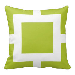 Tomova Jai Designs - Square Biz Color Blast Decorative Pillow, Lime Green - Square Biz Color Blast Pillow.