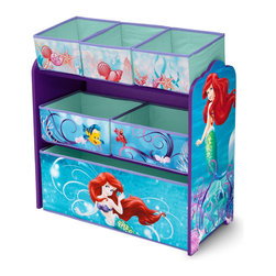 Adarn Inc - Girls Disney Little Mermaid Blue Multi-Bin Toy Book Storage Organizer Box - Make a splash while straightening up with this Little Mermaid Toy Organizer! Featuring six uniquely sized fabric bins supported by a sturdy wood frame, it's finished with colorful illustrations of your girl's favorite mermaid, Ariel. A whimsical option for easy organization of all her gadgets and gizmos, it encourages kids to clear clutter in record time. Complements other items sold separately online by children's products. With a brand new color scheme, and six uniquely sized storage boxes, this organizer makes cleaning up easy and exciting. Meets all JPMA safety standards. Some assembly required.